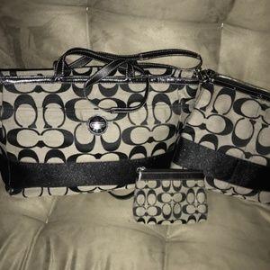 Coach Signature Striped Tote / Diaper Bag F15188